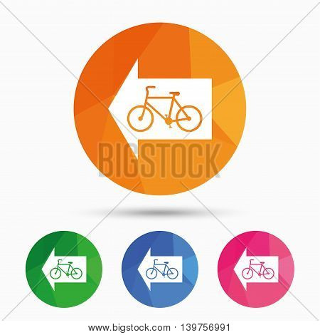 Bicycle path trail sign icon. Cycle path. Left arrow symbol. Triangular low poly button with flat icon. Vector