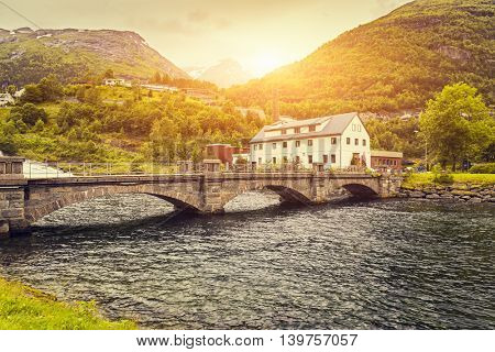Beautiful sunrise scene over mountain, Geiranger Fjord, Hellesylt, Norway