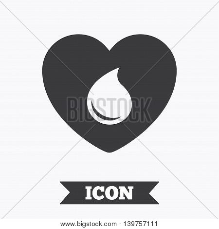 Blood donation sign icon. Medical donation. Heart with blood drop. Graphic design element. Flat blood symbol on white background. Vector