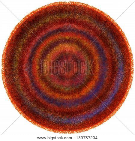 Fluffy round weave carpet with grunge striped circular wavy colorful pattern isolated on white