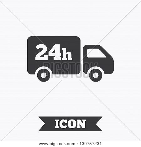 24 hours delivery service. Cargo truck symbol. Graphic design element. Flat delivery symbol on white background. Vector