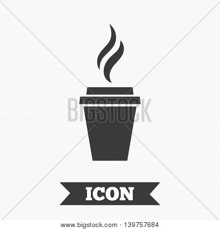 Coffee glass sign icon. Hot coffee button. Hot tea drink with steam. Takeaway. Graphic design element. Flat coffee symbol on white background. Vector