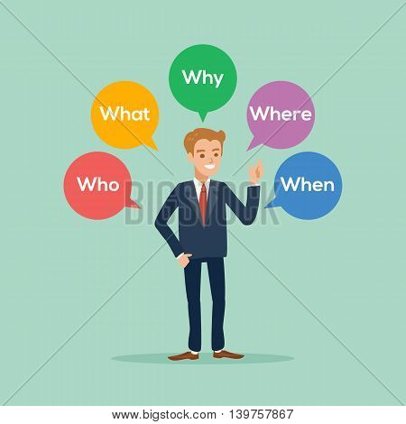 business man standing with various questions who what why where when cartoon illustration