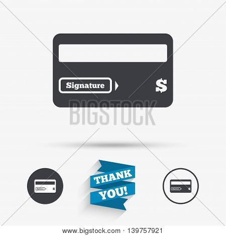 Credit card sign icon. Debit card symbol. Virtual money. Flat icons. Buttons with icons. Thank you ribbon. Vector