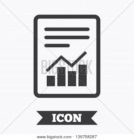 Text file sign icon. Add File document with chart symbol. Accounting symbol. Graphic design element. Flat report symbol on white background. Vector