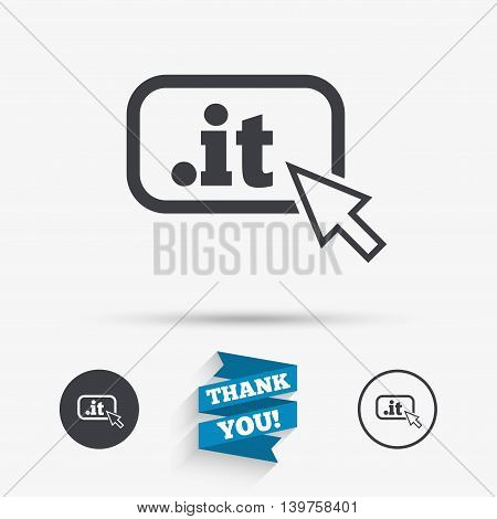 Domain IT sign icon. Top-level internet domain symbol with cursor pointer. Flat icons. Buttons with icons. Thank you ribbon. Vector