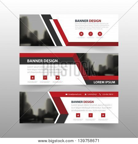 Red black triangle corporate business banner template horizontal advertising business banner layout template flat design set clean abstract cover header background for website design