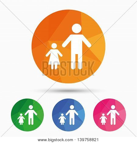 One-parent family with one child sign icon. Father with daughter symbol. Triangular low poly button with flat icon. Vector