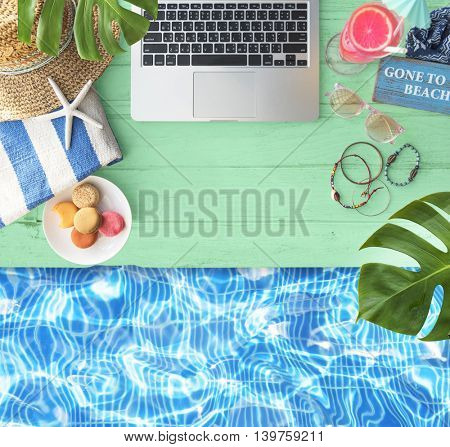 Summer Relax Poolside Laptop Book Concept