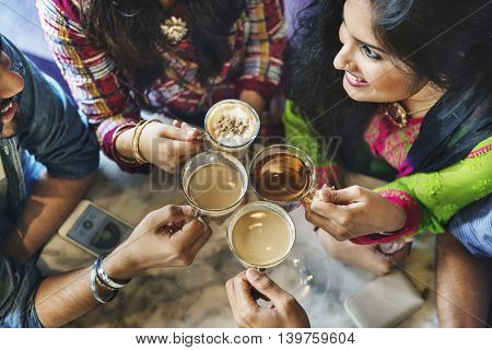 Friend Group Holding Coffee Tea Concept
