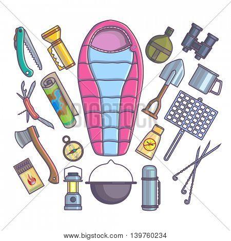 Hiking camping mountain climbing equipment. Vector set.