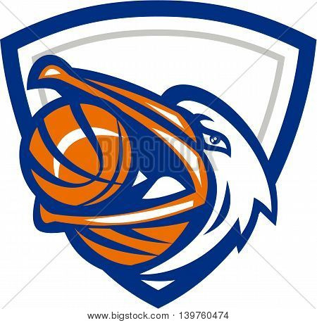 Illustration of a head of a pelican bird with basketball in mouth looking up to the side set inside shield crest done in retro style.