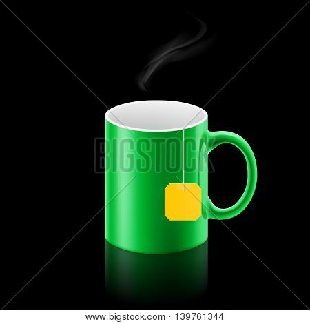 Green cup of something with teabag stay
