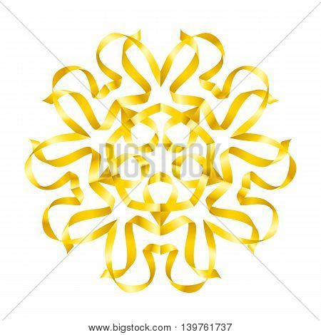 Flower yellow colour of swirled ribbon on white background