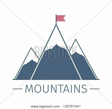 Mountains with flag emblem or logo, success or mission concept, vector eps10 illustration