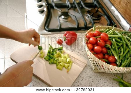 an image of cutting vegetables