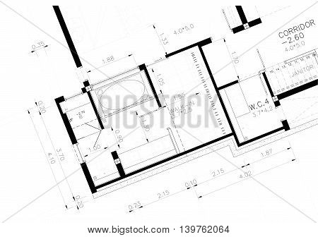 Architectural background, architectural floor plan, construction drawing