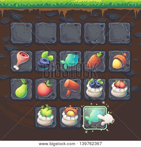 Feed the fox GUI match 3 game items - cartoon stylized vector illustration window.