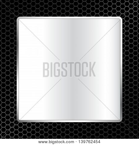 Abstract Metal Texture Background With Square Frame Vector Illustration