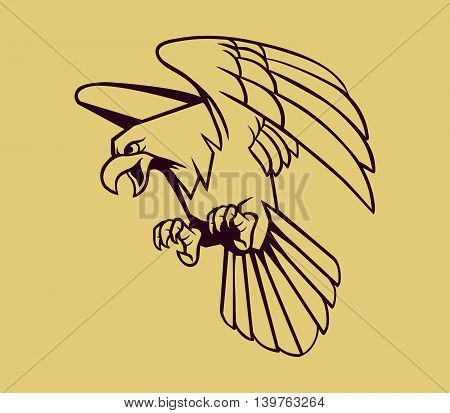 Vector illustration of eagle on line art