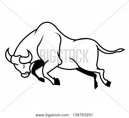 A vector illustration of jumping bull .