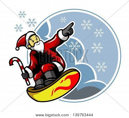 Vector illustration of surfing Santa and snow rain