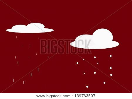 illustration which depicts two clouds, rain and snow