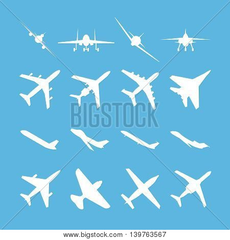 Different airplanes vector icons. Set of white airplane silhouettes on blue background. Air plane transport vector illustration
