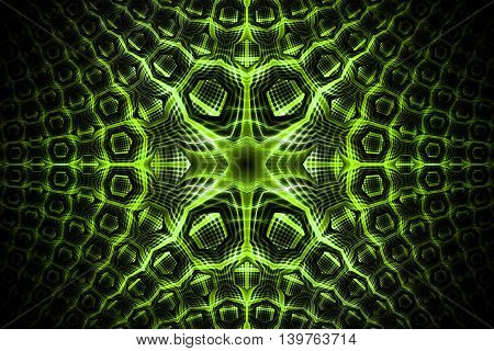 Abstract golden detailed geometrical ornament on black background. Fantasy fractal texture in bright green colors colors. 3D rendering.