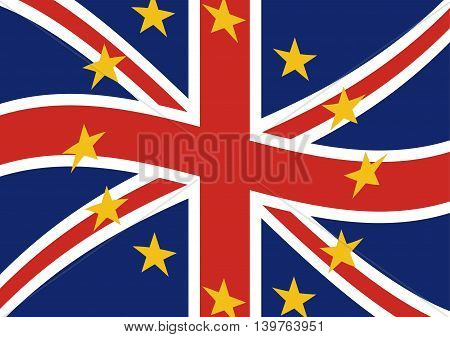 Flags of the United Kingdom and European Union to illustrate the exits of great Britain from EU. Vector illustration of Brexit concept design.