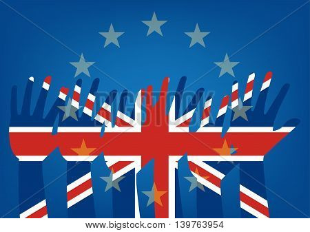 Raise hands flag of the United Kingdom on European Union flag. Vector illustration of to illustrate the exits of great Britain from EU Brexit concept design.
