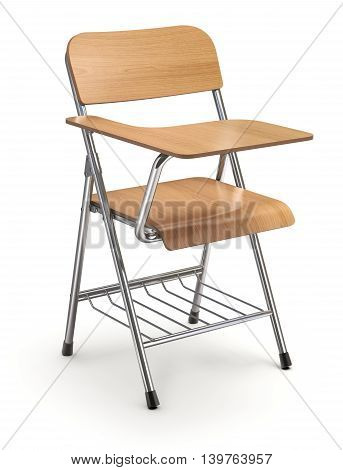 Wooden student chair with desk and armrest on white floor - 3D illustration