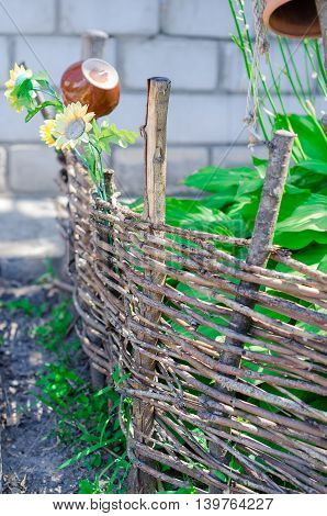 Country style wooden vintage fence. Village style