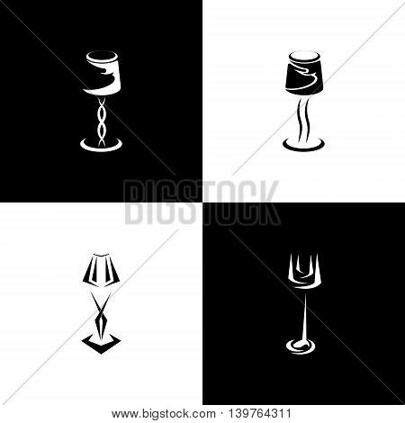 Logo set of silhouettes lamp and sconce. vector illustration