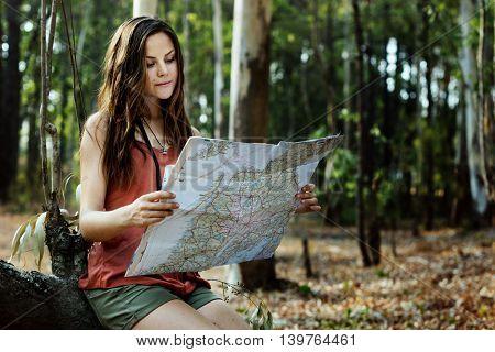 Map Adventure Destination Navigation Route Trip Concept