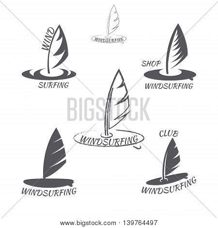 Set. windsurfing logo Isolated on white background. vector illustration