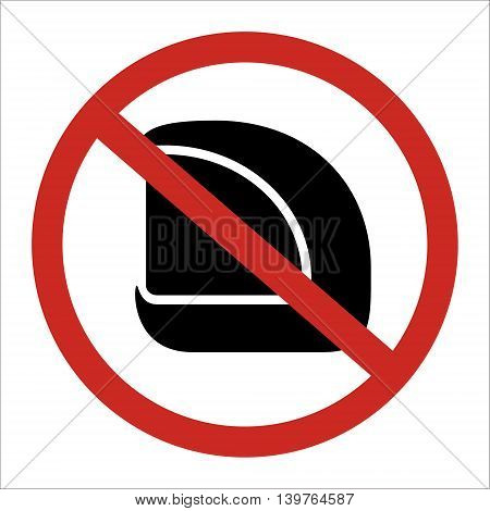 No helmet allow to use restrict sign isolated on white background. Vector illustration prohibited circle design.