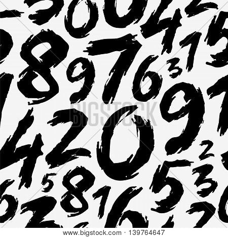 Seamless vector pattern of the numbers drawn by hand on a white background. Beautiful abstract digital background. The trend calligraphy.