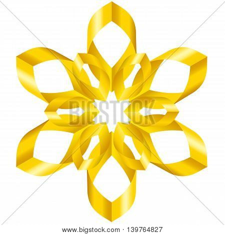 Beautiful yellow flower with six petals of swirled ribbons on white background