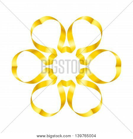 Beautiful yellow flower of swirled ribbons on white background