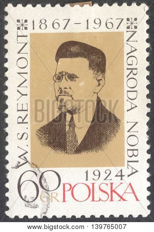 MOSCOW RUSSIA - CIRCA JANUARY 2016: a post stamp printed in POLAND shows a portrait of W. S. Reymont devoted to the 100th Anniversary of the Birth of Wladyslaw Stanislaw Reymont circa 1967