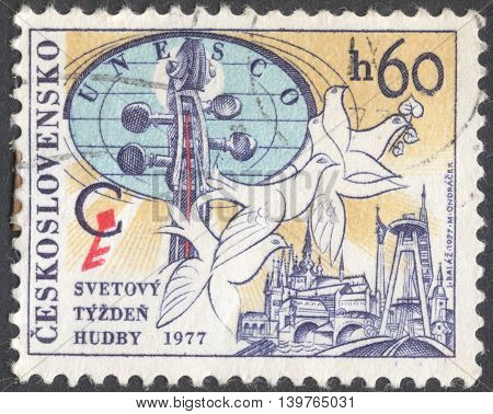 MOSCOW RUSSIA - JANUARY 2016: a post stamp printed in CZECHOSLOVAKIA devoted to the Congress of UNESCO International Music Council circa 1977