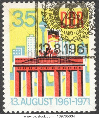 MOSCOW RUSSIA - JANUARY 2016: a post stamp printed in DDR shows the Brandenburg Gate the series