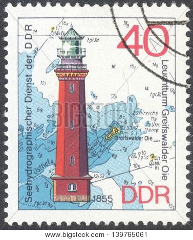 MOSCOW RUSSIA - JANUARY 2016: a post stamp printed in DDR shows the Greifswalder Oie lighthouse the series
