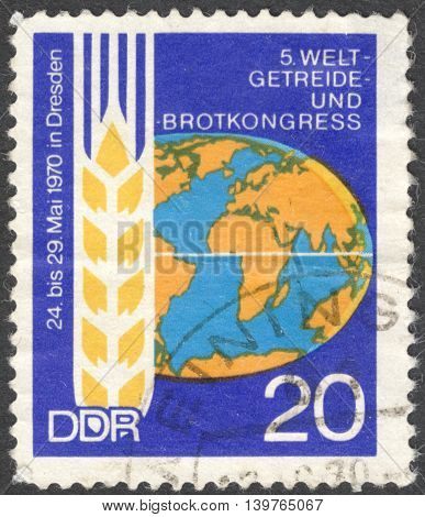 MOSCOW RUSSIA - JANUARY 2016: a post stamp printed in DDR devoted to the Corn and Bread Congress circa 1970