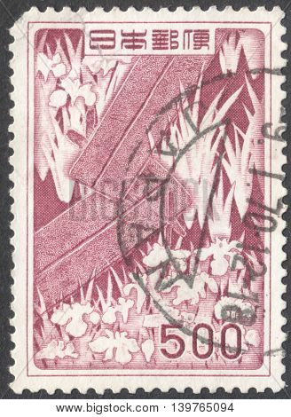 MOSCOW RUSSIA - CIRCA JANUARY 2016: a post stamp printed in JAPAN shows a painting by Ogata Korin 1660-1716 circa 1955