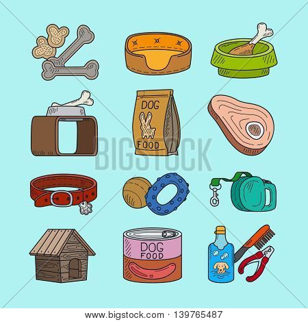 Pet dog doodle icons. Vector hand drawing dog signs
