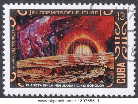MOSCOW RUSSIA - CIRCA JANUARY 2016: a post stamp printed in CUBA shows futurisric cosmic scenery the series