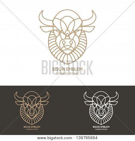 Bison head in line style. Design element for logo label emblem sign. Vector illustration.