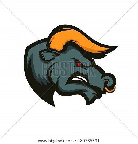 Bull mascot. Emblem for sport team or club. Design element for logo label emblem sign badge. Vector illustration.